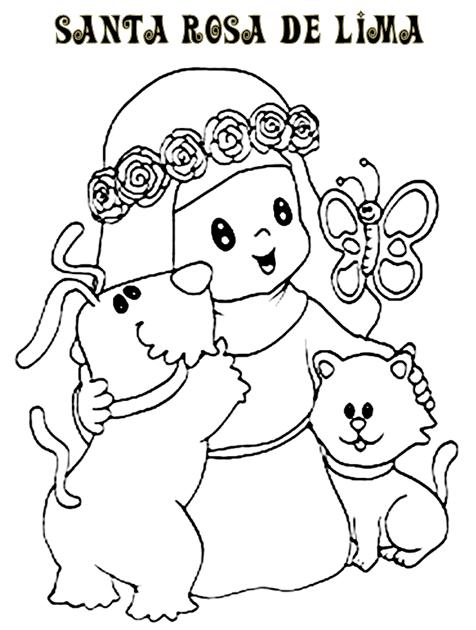 santa rosa de lima ANIMADA para colorear  Buscar con Google