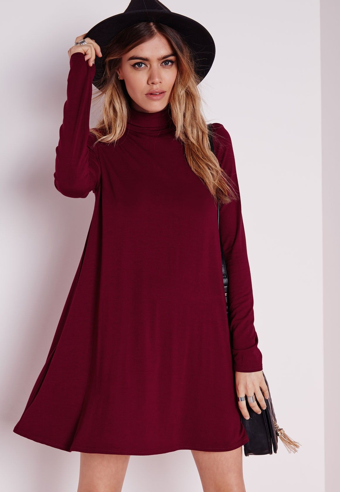 Roll neck long sleeve jersey swing dress burgundy outfits