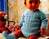 "Pdf Knitting Pattern NEWBORN to 24 MONTHS - Girl's & Boys Jumper Pants,Bootees 18-22""; 45-56cm 4 Ply Vintage - Instant Download Kenyon 0530"