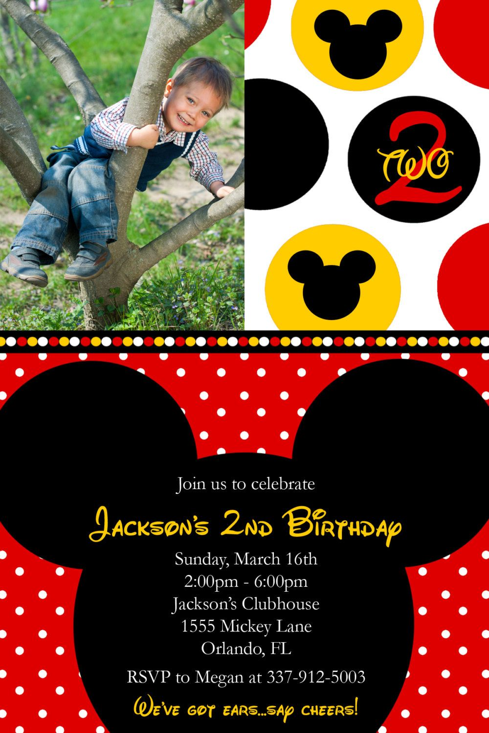Red Mickey Mouse Birthday Party Invitations by Honeyprint on Etsy ...