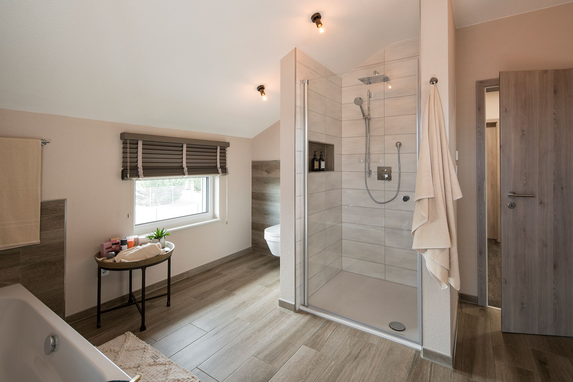 Wohnideen Badezimmer In Beigetonen Mit Regendusche Fingerhaus Fertighaus Kaufen Fertighauser