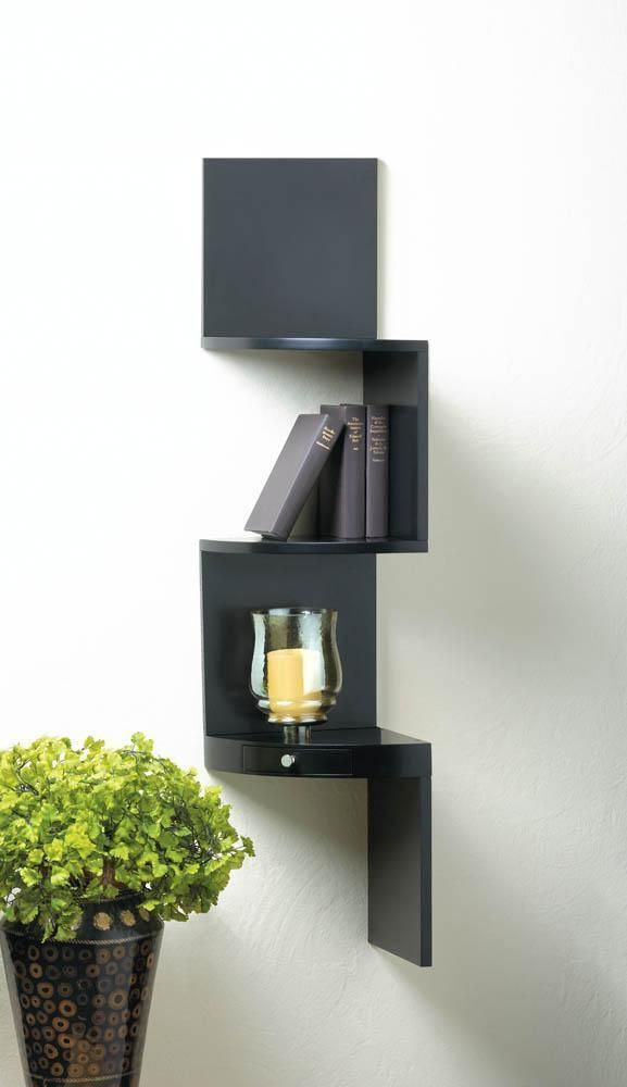 3 Tier Black Corner Shelf With Drawer Black Corner Shelf Wall Shelf With Drawer Black Wall Shelves