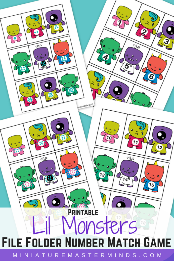 Printable Lil Monsters File Folder Number Match Game File Folder Activities File Folder Games Free Autism Activities