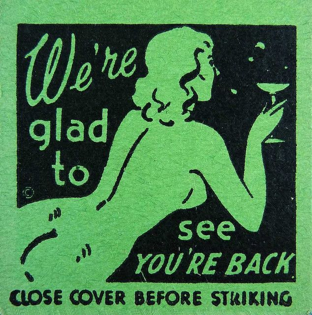 Glad to see you're back, detail of a vintage match cover