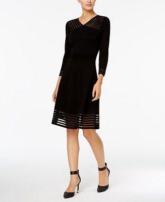 14a19628 Calvin Klein Illusion-Stripe Fit & Flare Sweater Dress - Dresses - Women -  Macy's