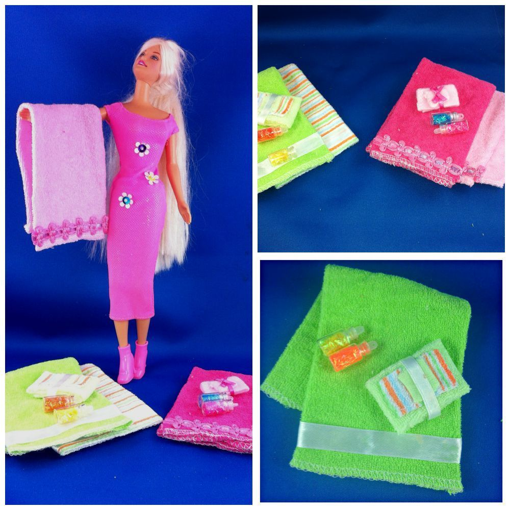 Baby Wash Cloth to Barbie Towel Collection DIY Barbie Doll Towel Set. Easy to make Barbie Doll accessories. #barbiedoll #towels #DIY #Upcycle #Repurpose #Reuse #Toys #dollaccessories