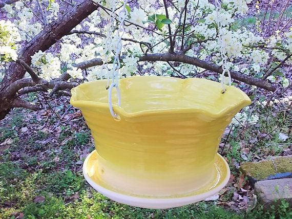 Yellow Large Ceramic Hanging Flower Pot By Summerhollowpottery
