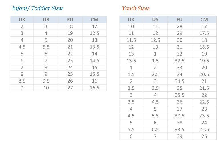 Puma Big Kid Size Chart In 2020 Shoe Size Chart Kids Baby Shoe Size Chart Size Chart For Kids