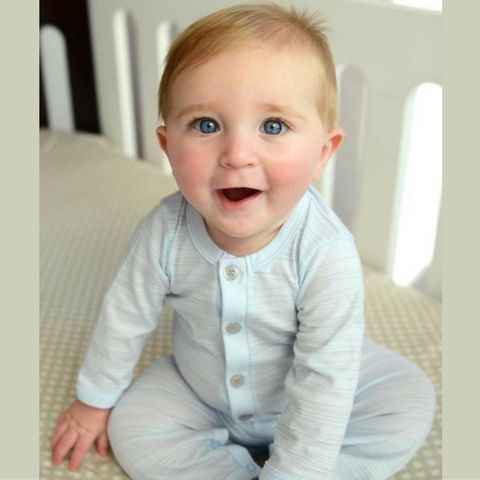 Feather Baby Grey on Baby Blue Stripe Henley Long John Romper
