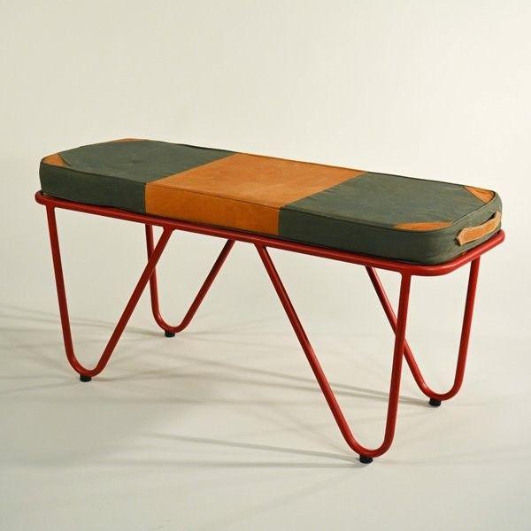 Gym-Bank mit Matte Vintage - Vintage gym bench