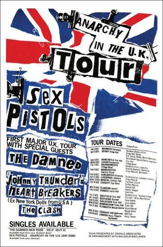 "Sex Pistols, ""Anarchy in the UK"" Tour, (1976). - 1° England Tour by Sex Pistols, Guests: The Damned, J.Thunders and The Heartbreakers, The Clash!! - Original Graphic Punk Era!"