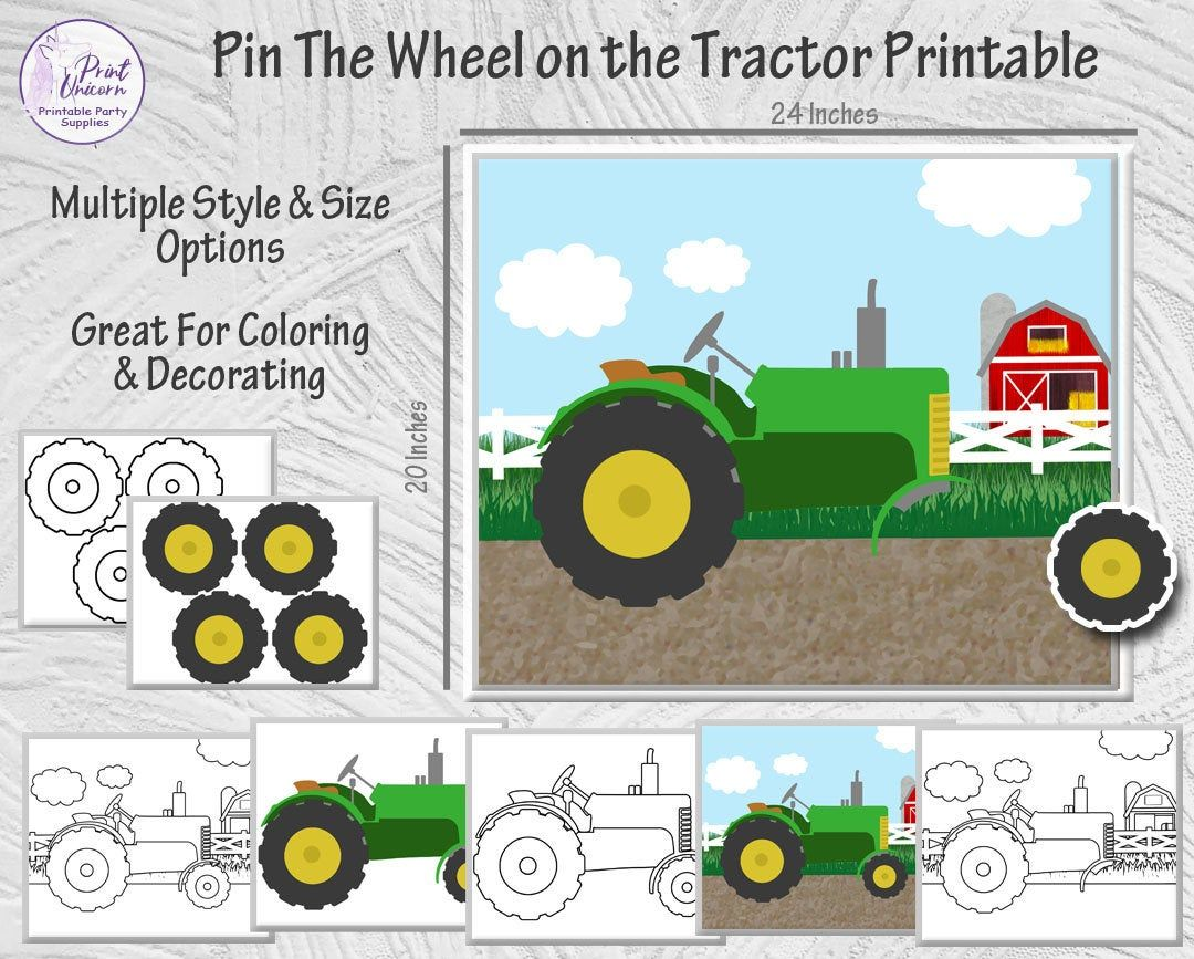 Pin The Wheel on the Tractor Printable Party Game Pin