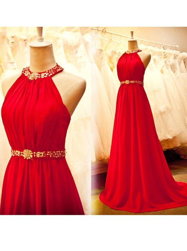 Simple dress a line beading halter long chiffon red prom for Evening dresses for wedding reception