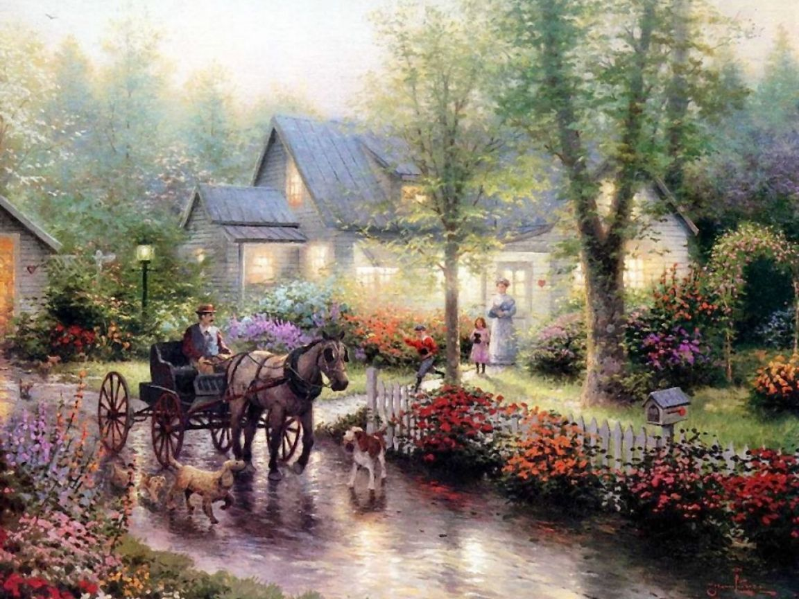 Sunday Outing - Thomas Kinkade - I love his paintings.