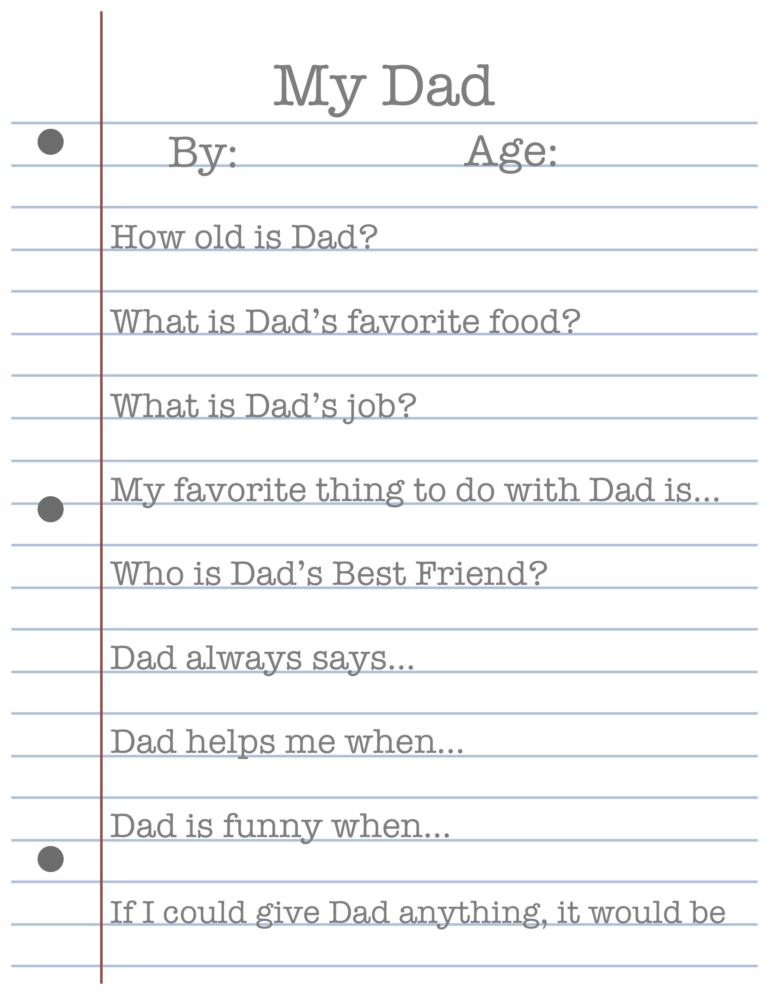 My Dad Father S Day Printable