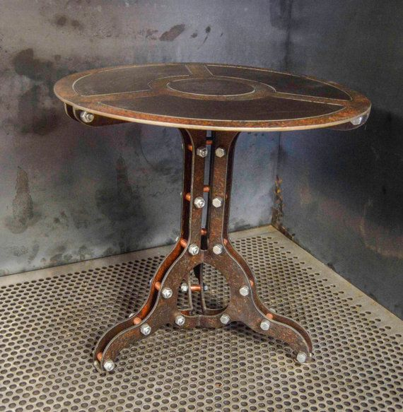 Steampunk Industrial End Table By Machinebrothers On Etsy Steampunk Furniture Metal Furniture Steampunk Lighting