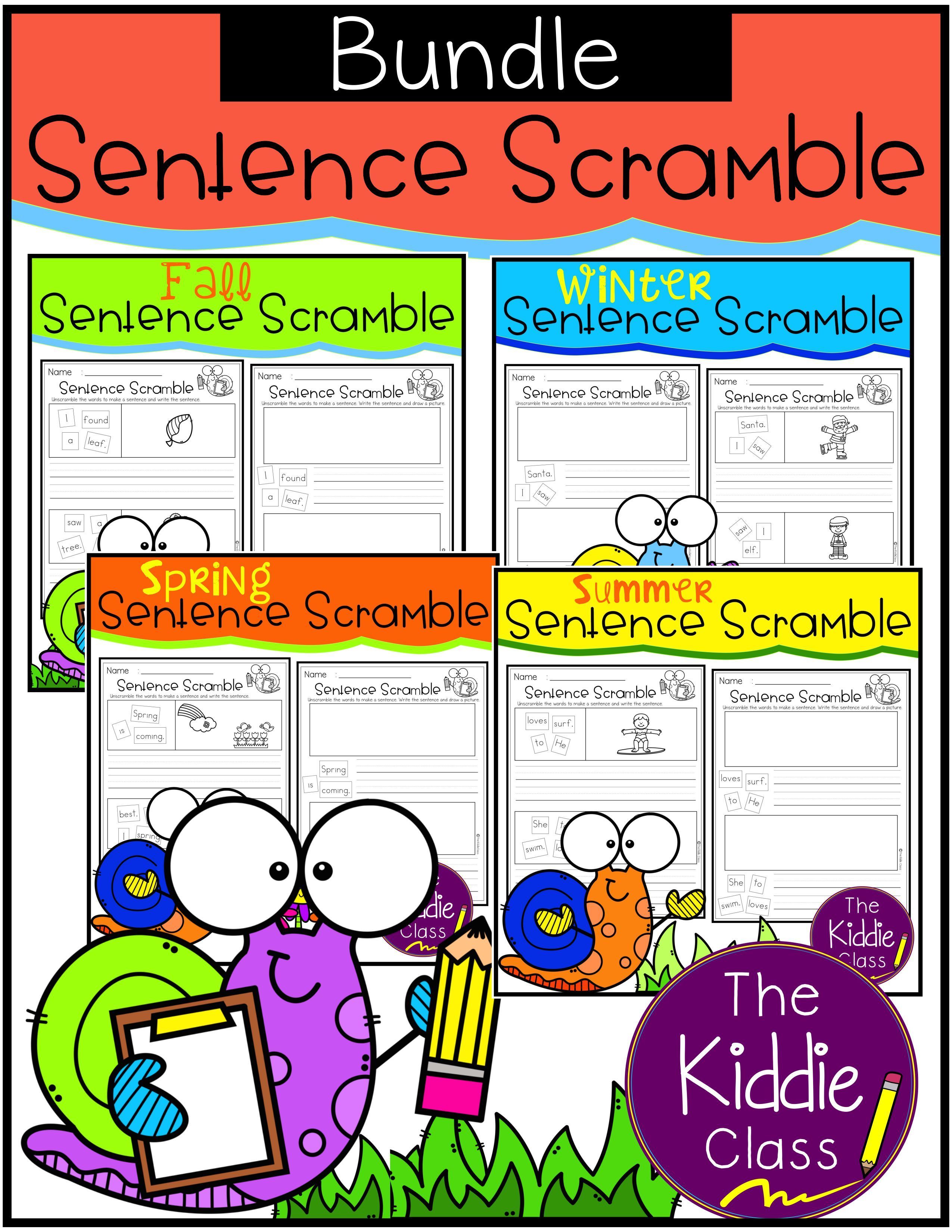 There Are 120 Pages Of Sentence Scramble Worksheets In