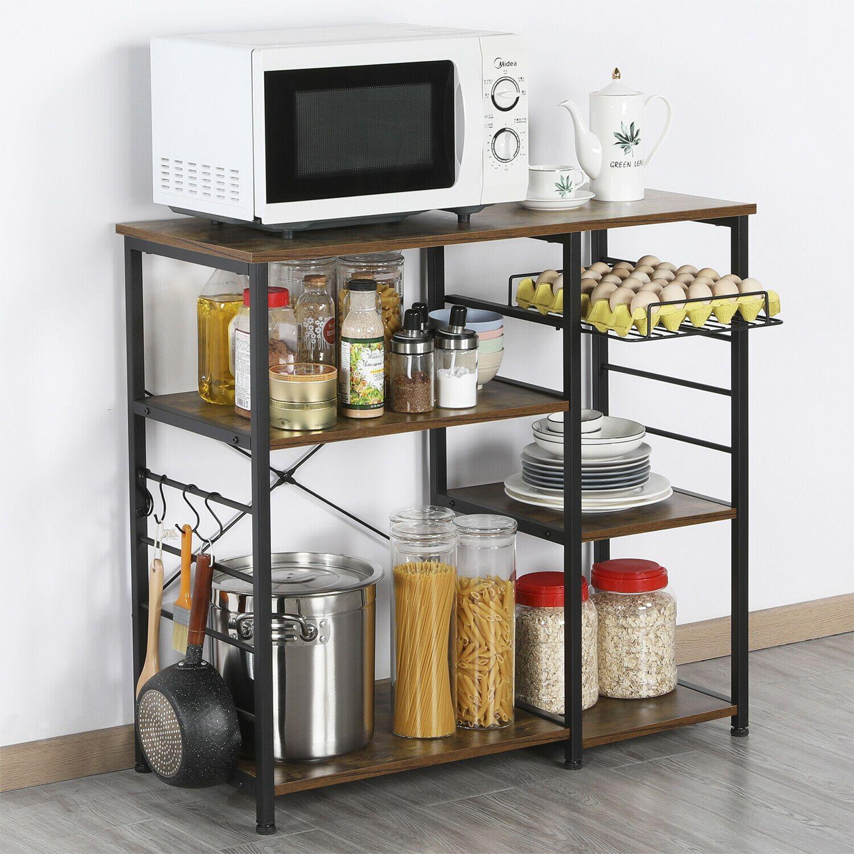 3 Tier Kitchen Baker Rack Microwave Oven Rack Stand Storage Cart Utility W Hook Ebay In 2020 Kitchen Storage