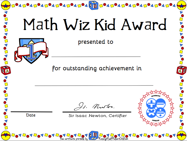 Free Printable Math Certificate of Achievement | Math ...