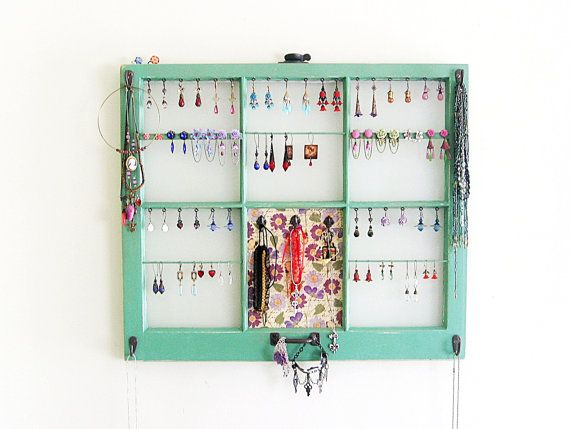 Upcycled Window Frame Green Jewelry Holder Wall Hanging Jewelry