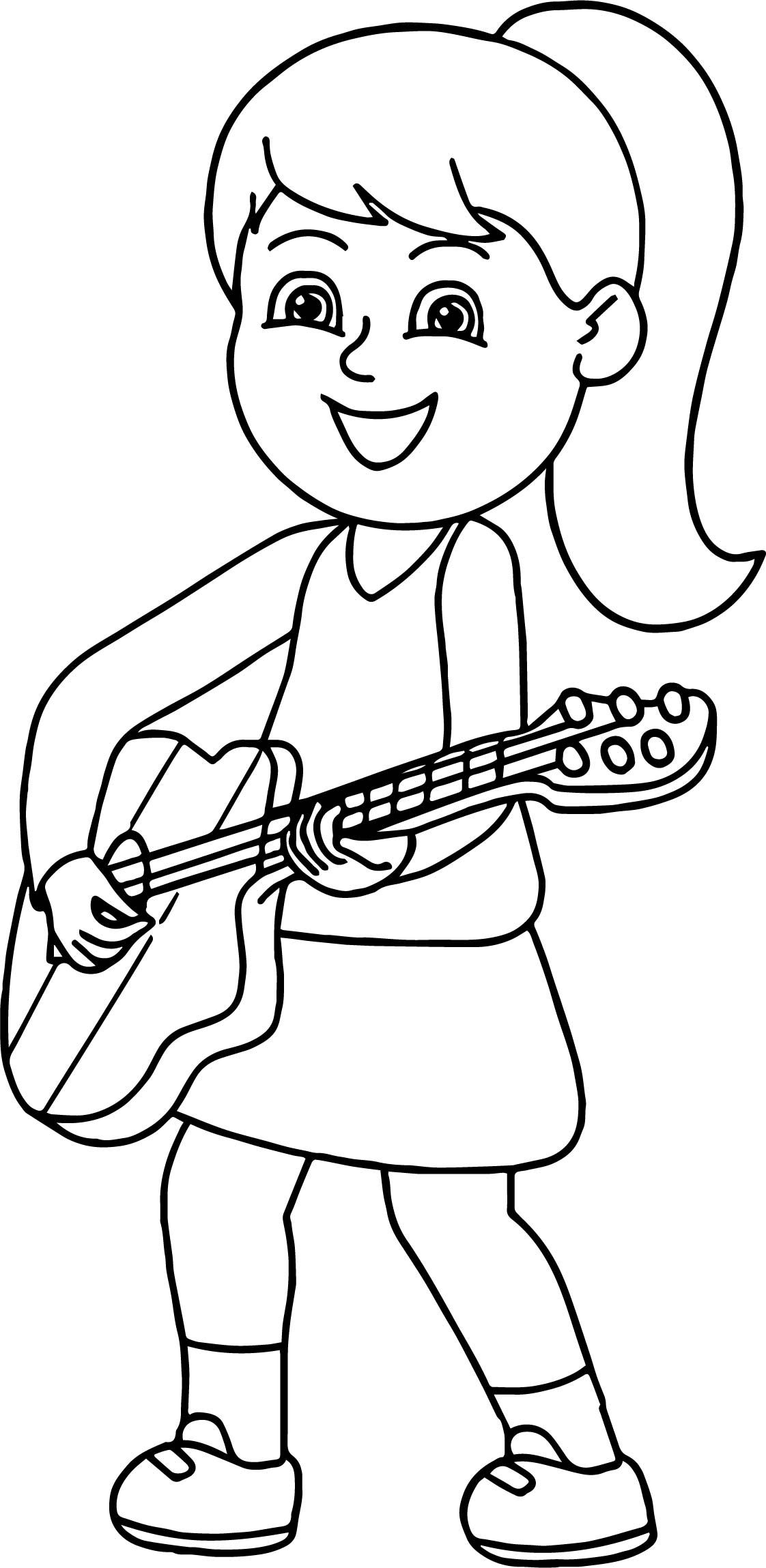 Cool Girl Playing Guitar The Coloring Page
