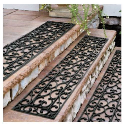Extra Wide 48 Rubber Scroll Stair Treads Set of 3 Outdoor Anti