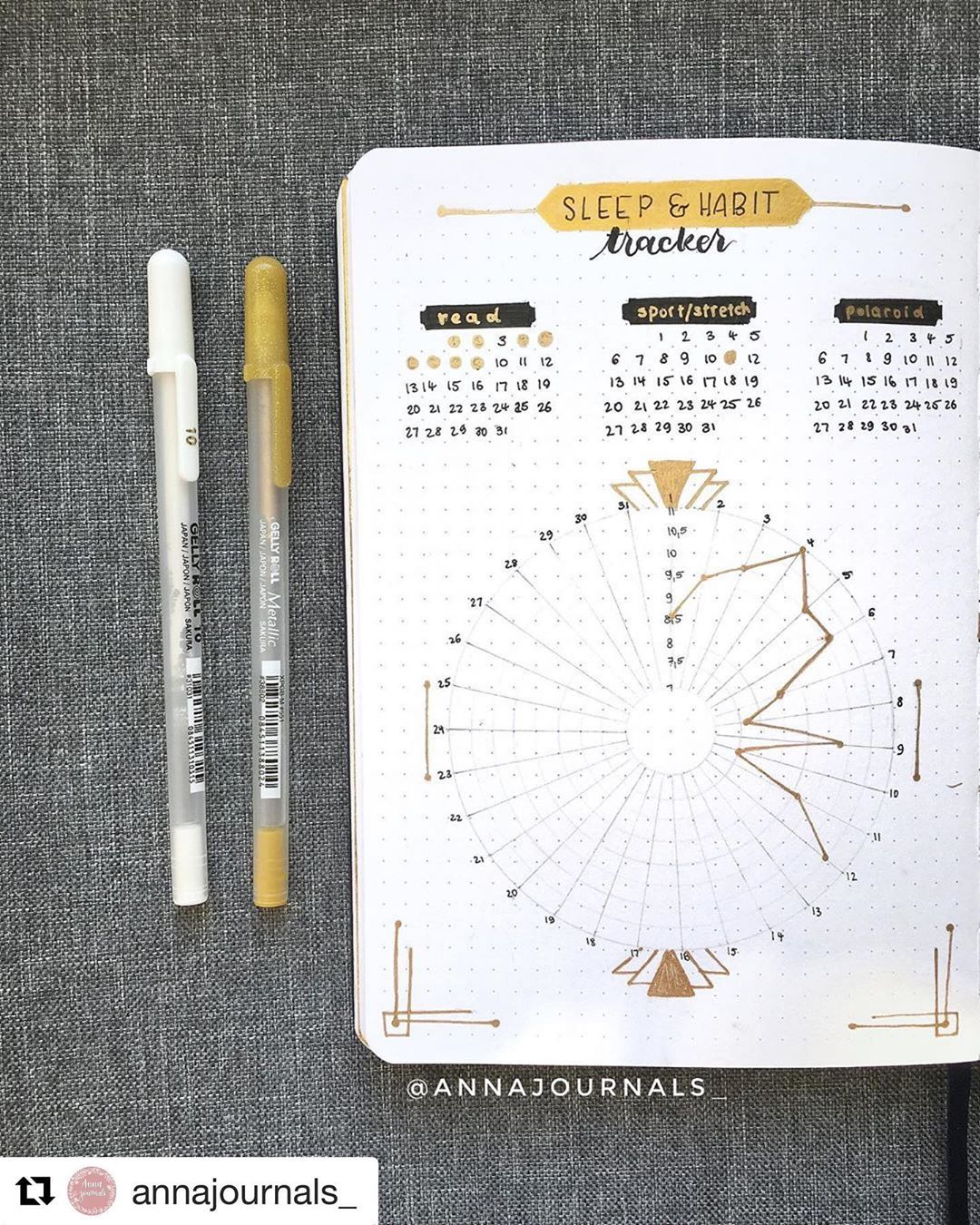 "Bullet Journal features on Instagram: ""Im@in love with this tracker by @annajournals_ 😍 _________________________________________________________ Use #bujobeauty for a chance to…"""