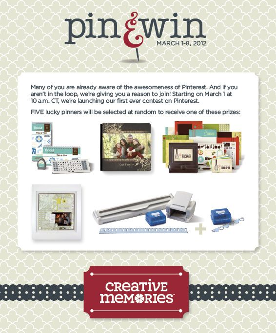 Yipee a pin and win contest easy to enter i just did it creative memories pin win contest starts at 10 a ct on march 2012 creative memories pin win contest starts at 10 a solutioingenieria Image collections