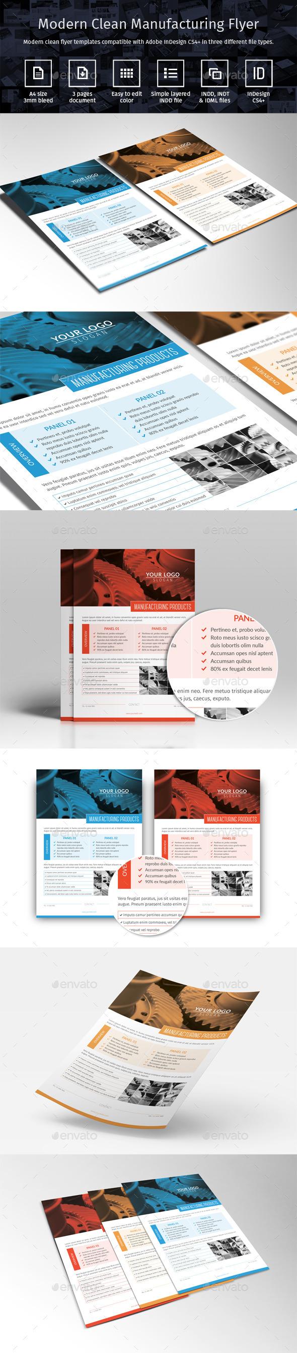 Modern Clean Manufacturing Flyer   Flyer printing, Indesign ...