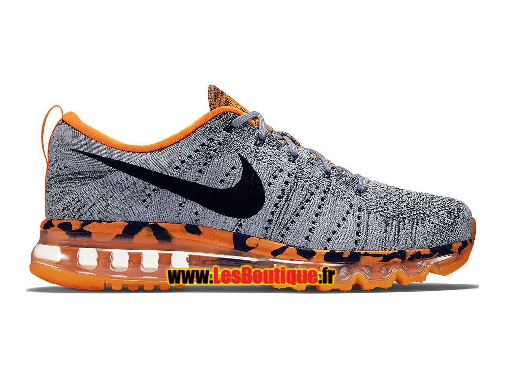 meet 9e990 208e1 Nike Flyknit Max 2015 - Chaussure de Running Nike Pas Cher Pour Homme Gris  loup Orange total Orange laser Noir 747361-008