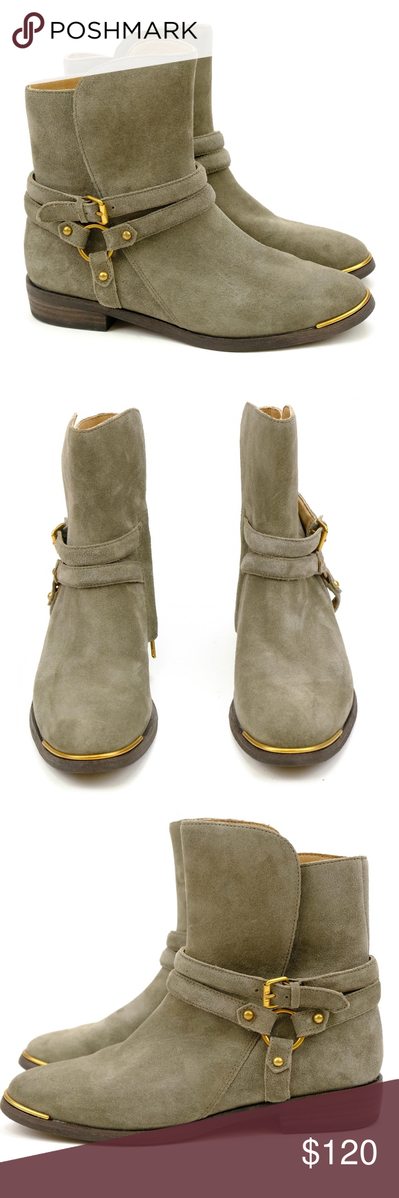 4b0ba72cb16 UGG Kelby Mouse Gray / Gold Suede Ankle Boots NEW A notch above your ...