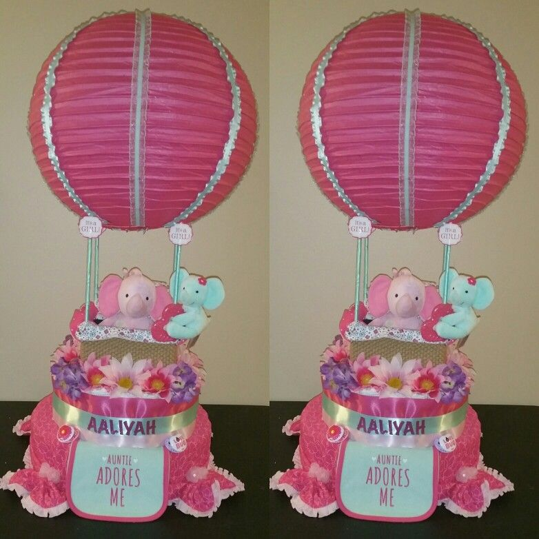 hot air balloon diaper cake made by me diaper cakes and diaper ideas diaper cake basket. Black Bedroom Furniture Sets. Home Design Ideas