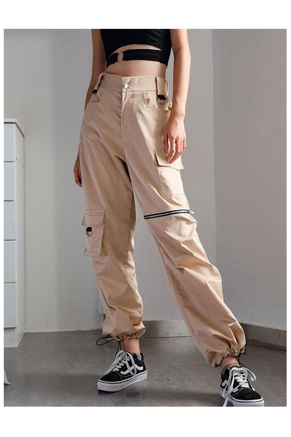 208030a4351 High Waist Long Trousers Casual Loose Solid Cool Streetwear Cargo ...