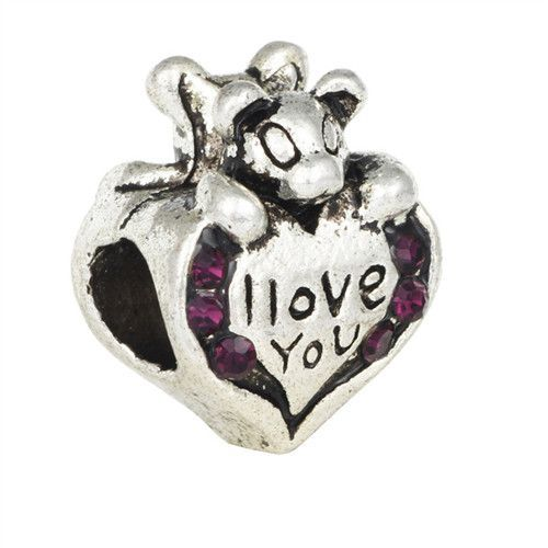 Charms Heart Bear I Love You Multicolor Crystal Big Hole Silvering Bracelet 235 Beads