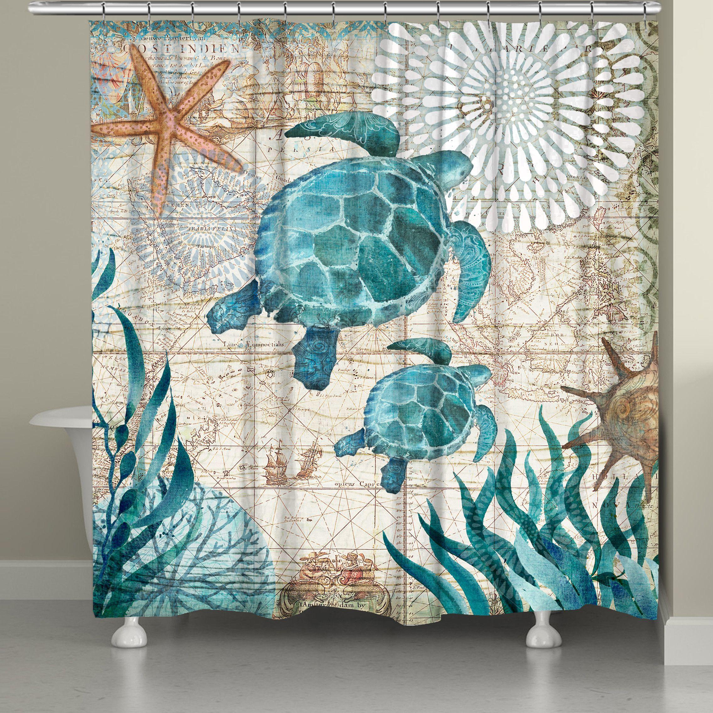 Bay Turtles Shower Curtain Turtle Bathroom Decor Beach Bathroom