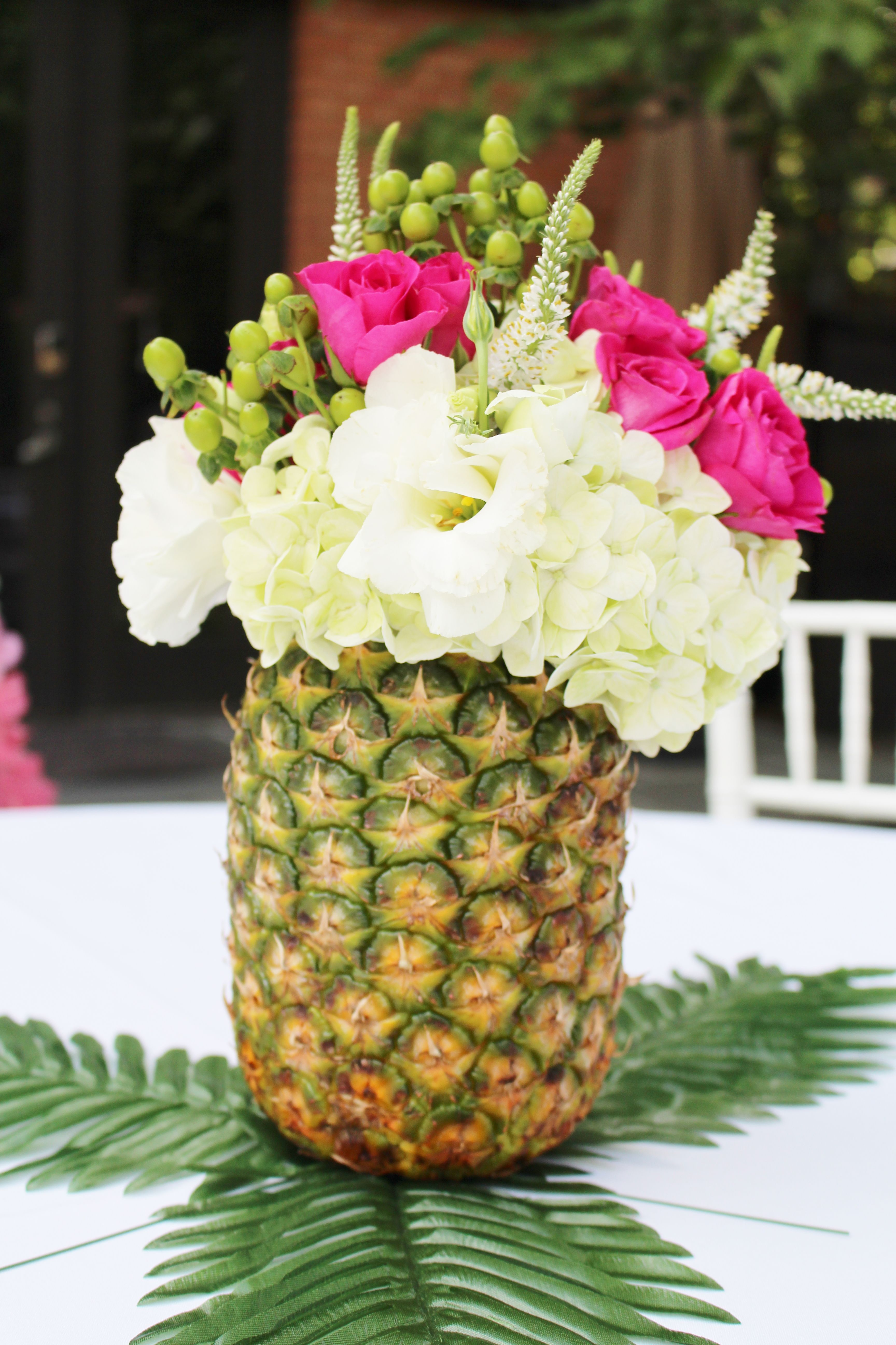 Pineapple flower arrangements hawaiian party ideas luau