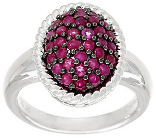 Ruby, Emerald or Sapphire Sterling Silver Oval Pave' Ring 0.75 cttw