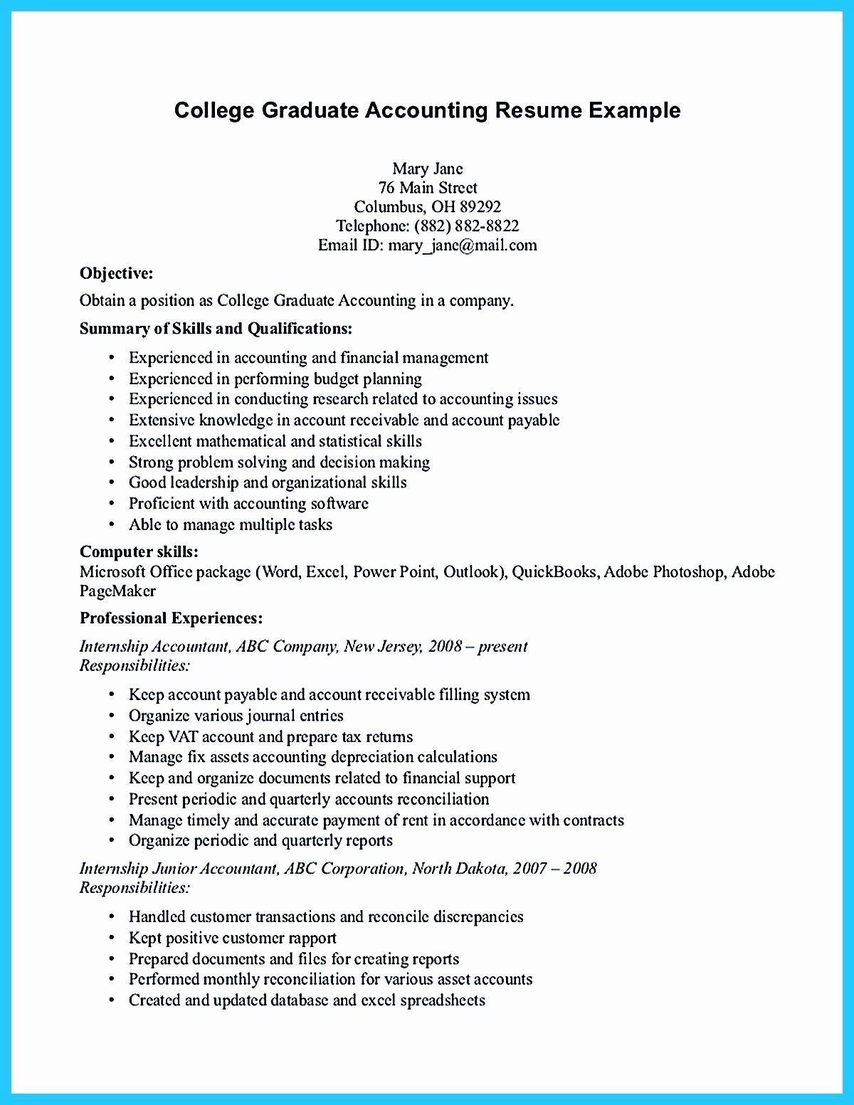 Resume For Accounting Internship With No Experience Printable Resume Template Accounting Student Student Resume Resume Objective Examples