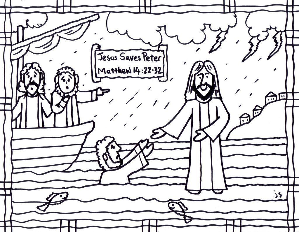 Fascinating Jesus Walks On Water Coloring Page Printable
