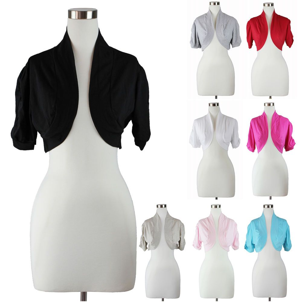 Details about Womens Plus Size Bolero Shrug Cardigan Top Solid ...