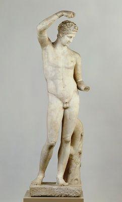 Statue eines einschenkenden Satyrn, Typus Satyr des Praxiteles Praxiteles (4. Jh. v. Chr.)|Entwurf 80 - 100 n. Chr., nach einem Vorbild des 2. Viertels des 4. Jhs. v. Chr. Skulpturensammlung. Maße H. 164,5 cm, B. 55 cm, T. 60,0 cm