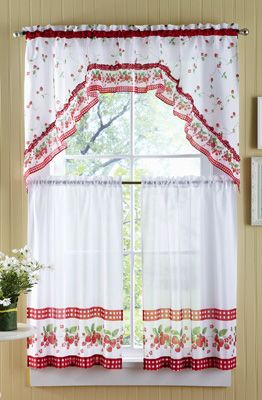 Strawberry Vine Kitchen Cafe Curtain Set Curtains Cafe Curtains