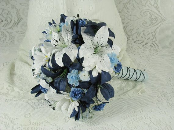 Wedding Bouquet Navy Blue And White Tiger Lily By EuphoriaRoad 14500