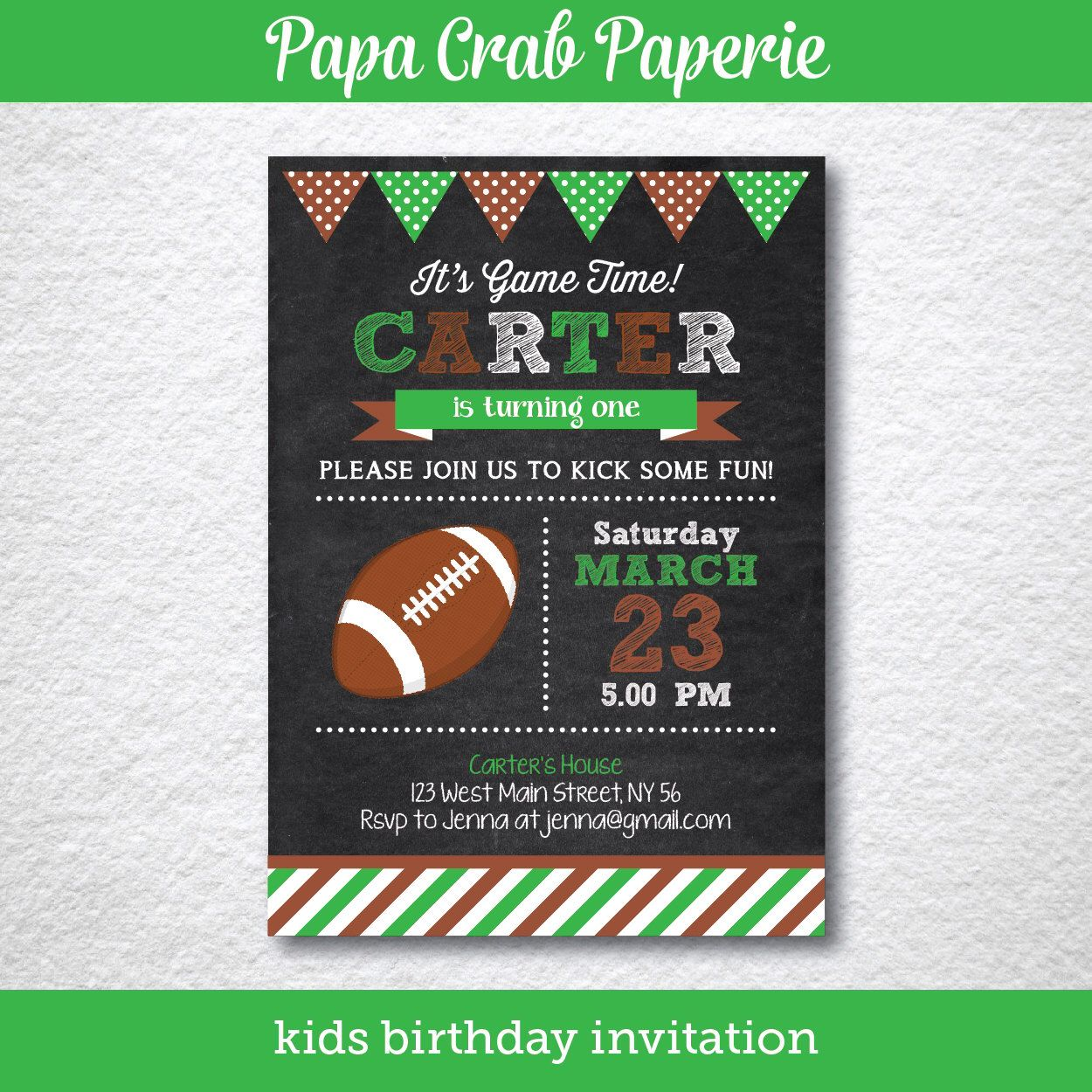 American Football Chalkboard Birthday Party Invitation Diy Party Prin Football Birthday Invitations Birthday Party Invitations Diy Football Party Invitations