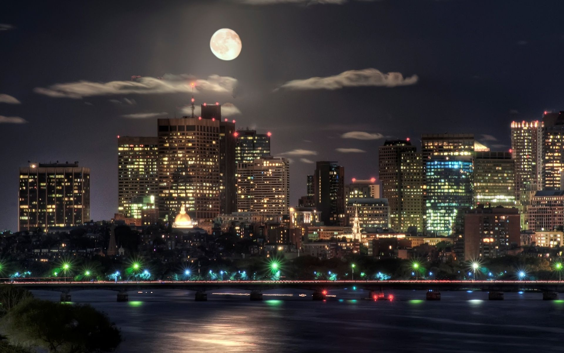 Image detail for -Wallpaper night, city, lights, moon | HD Desktop ... for City Lights At Night Wallpaper  110ylc