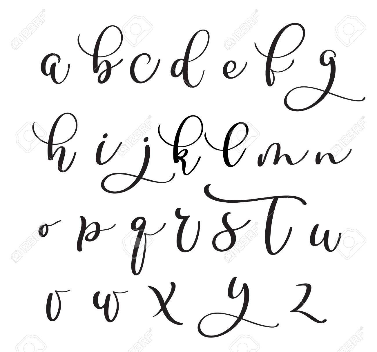 Brushpen Alphabet Modern Calligraphy Handwritten Letters Vector Royalty Free Clipar Lettering Alphabet Calligraphy Handwriting Modern Calligraphy Alphabet [ 1214 x 1300 Pixel ]