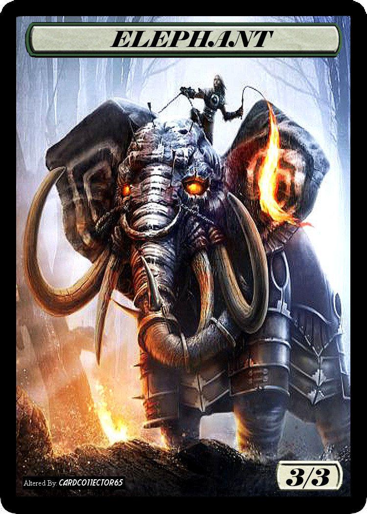 3x Elephant Custom Altered Tokens MTG