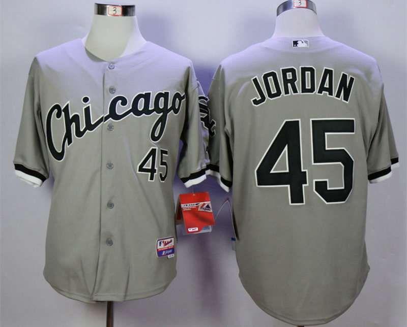 c8e02bfda08 ... Mens Chicago White Sox 45 Michael Jordan Grey Cool Base Jersey ...
