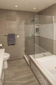 grey wood-grain tile brown cabinets bathroom - google