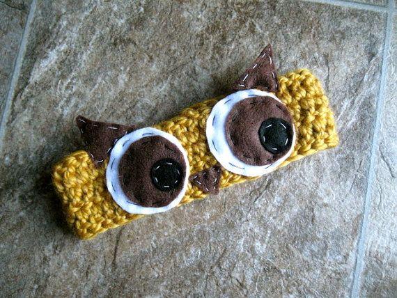 Owl Eyes Crochet Headband with hand sewn by EmilysPrettyThings, $14.00